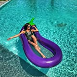 Allywit Eggplant Interactive Pool Beach Floating Water Hammock Lounge Chair, Inflatable Water Rafts Floating Bed,Floating Chair,Water Sofa,Inflatable Swimming Pool for Adult (Purple)