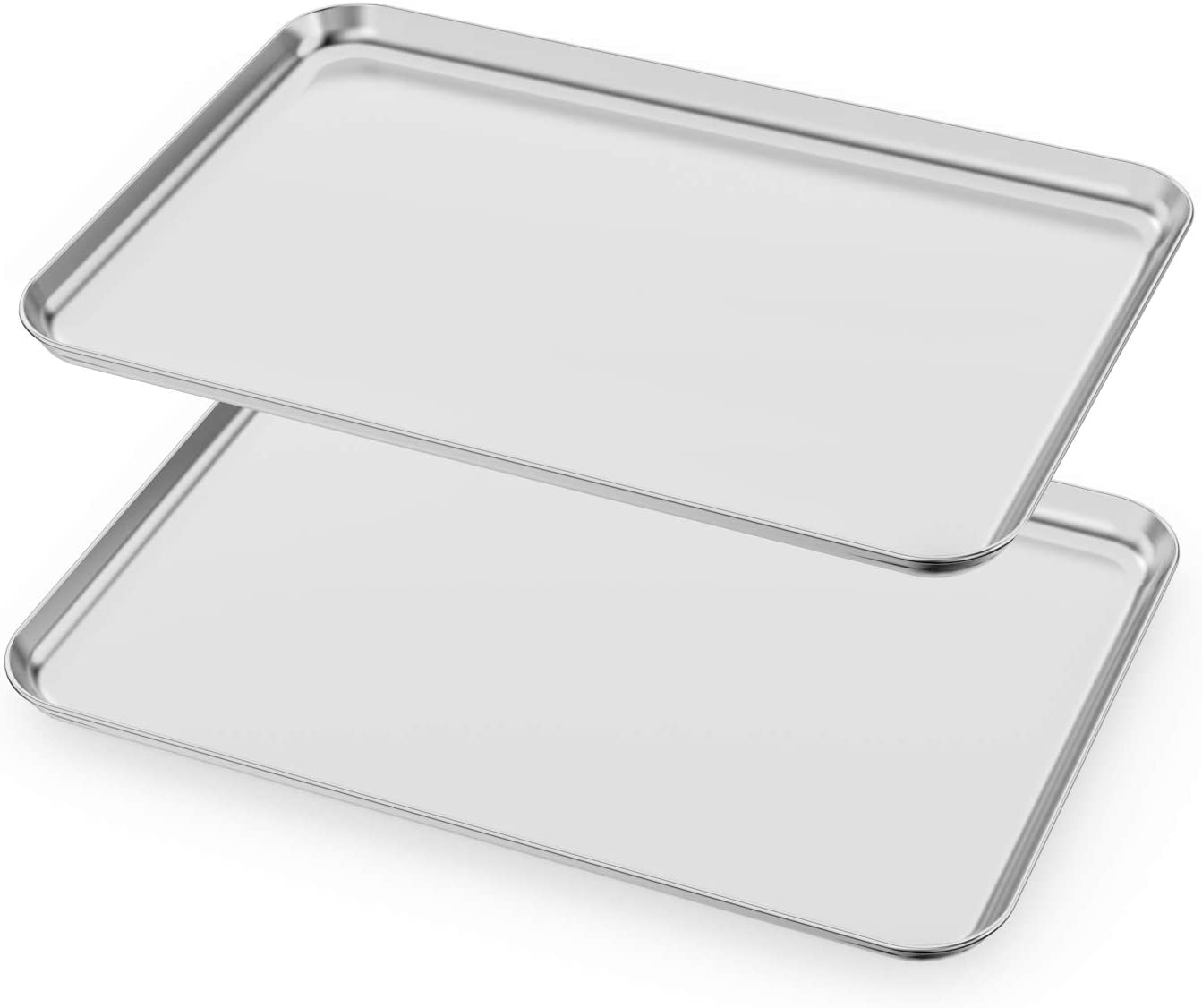 Baking Sheets Set of 2, HKJ Chef Cookie Sheets 2 Pieces & Stainless Steel Baking Pans & Toaster Oven Tray Pans, Rectangle Size 20L x 14W x 1H inch & Non Toxic & Healthy & Easy Clean