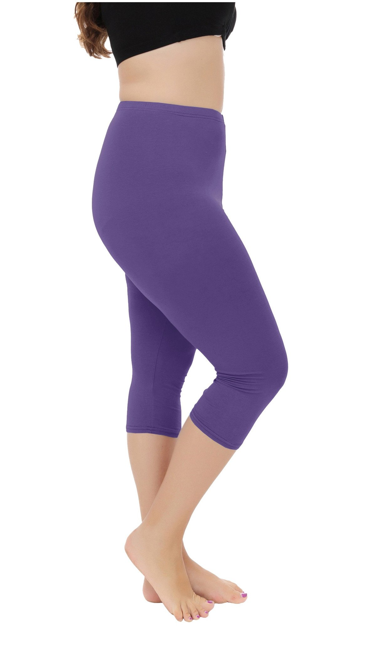 Cheapestbuy Vangee Women's Summer Light Weight Soft Plus Size Capri Leggings Cropped 3/4 Pants