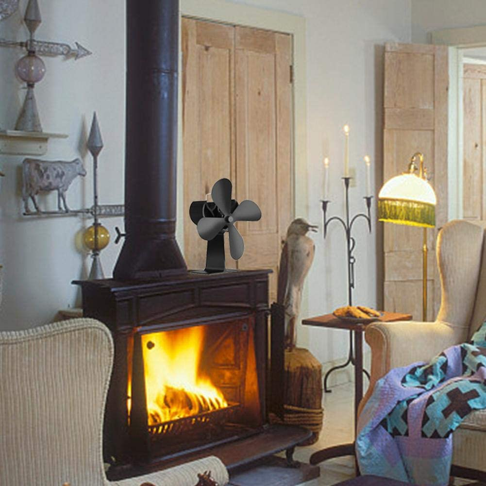 Dream-cool Ventilador de Estufa, Ventiladores de Estufa de 4 Cuchillas con alimentación térmica Temperatura Calentador de Estufa de Chimenea eléctrica con Efecto de Llama Best Service