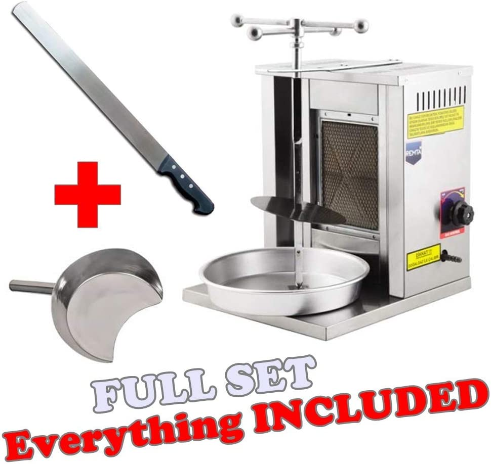 !! FULL GIFT SET !! 1-BURNER PROPANE GAS Spinning Grills Vertical Broiler Shawarma Gyro Doner Kebab Tacos Al Pastor Grill Trompo Mini Machine for Home use (Small) Catch Pan and Shawarma Knife 61IRAwTBm-LSL1000_