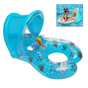 Qilerongrong Flotador para bebé 6meses-3 Años Barco Inflable Flotador con Asiento Respaldo Techo Ajustable Juguetes de Desarrollo de Natación en Agua ...