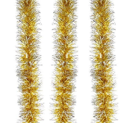 Holiday Tinsel - Christmas Tinsel Garland Hanging Tinsel Garland with Christmas Trees Holiday Christmas Decor (Pack of 1, Gold-Frost Tip)