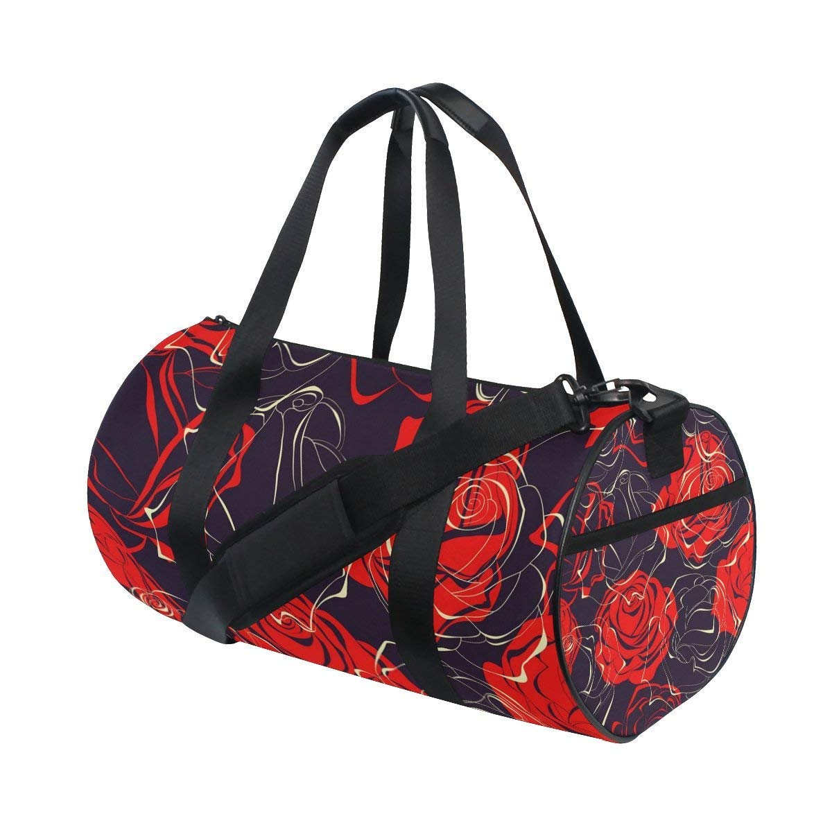 OuLian Gym Duffel Bag Red Rose Sports Lightweight Canvas Travel Luggage Bag