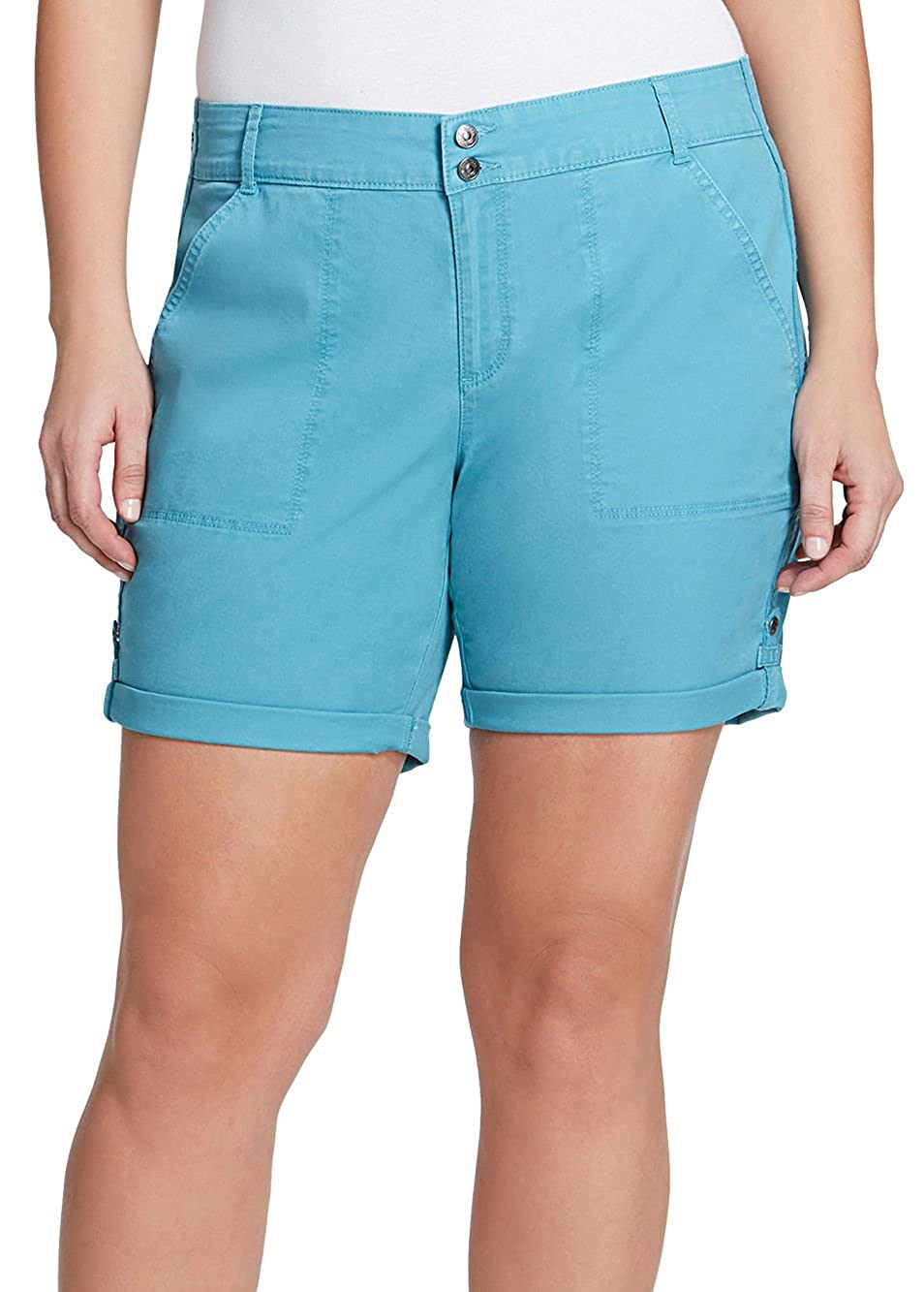 ebcc4e3489d Amazon.com  Gloria Vanderbilt Plus Maren Rolled Hems Shorts 24W Steel blue   Clothing