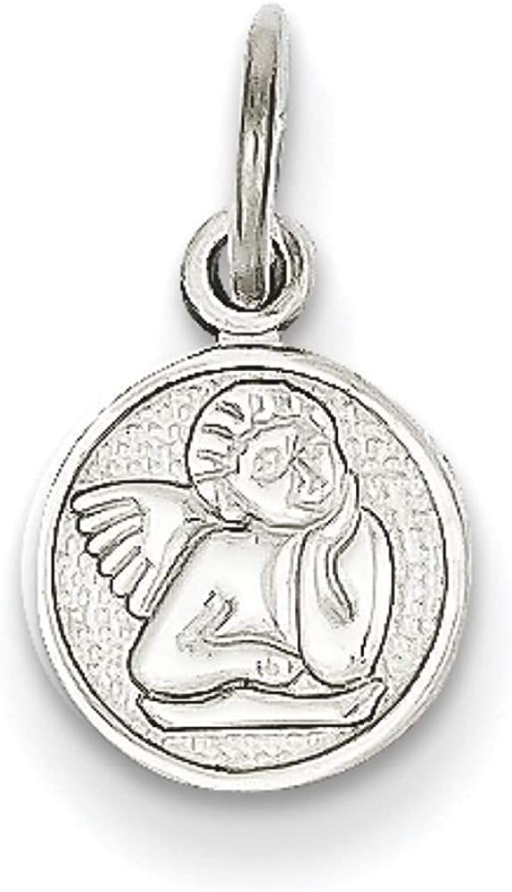 14k White Gold Small Angel Polished Charm Pendant 16mmx13mm