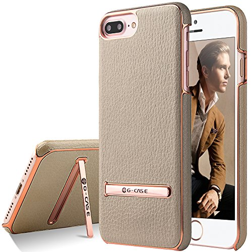 Price comparison product image iPhone 7 Plus Case, G-CASE [Plating ] - Gold and Metallic Rose Gold [Metal Kickstand][Anti-Scratch][Synthetic Leather][Shockproof][Bulit-in Magnetic Metal Plate] For Apple iPhone 7 Plus (2016)