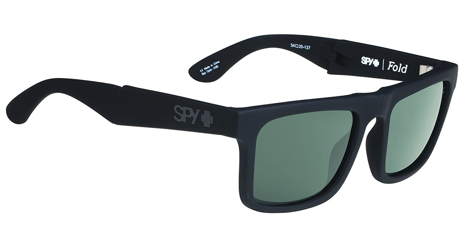 876c9b02ae Spy Sunglasses The Fold Black Soft Matte Black-Happy Gray Green Size One  Size  Amazon.co.uk  Sports   Outdoors