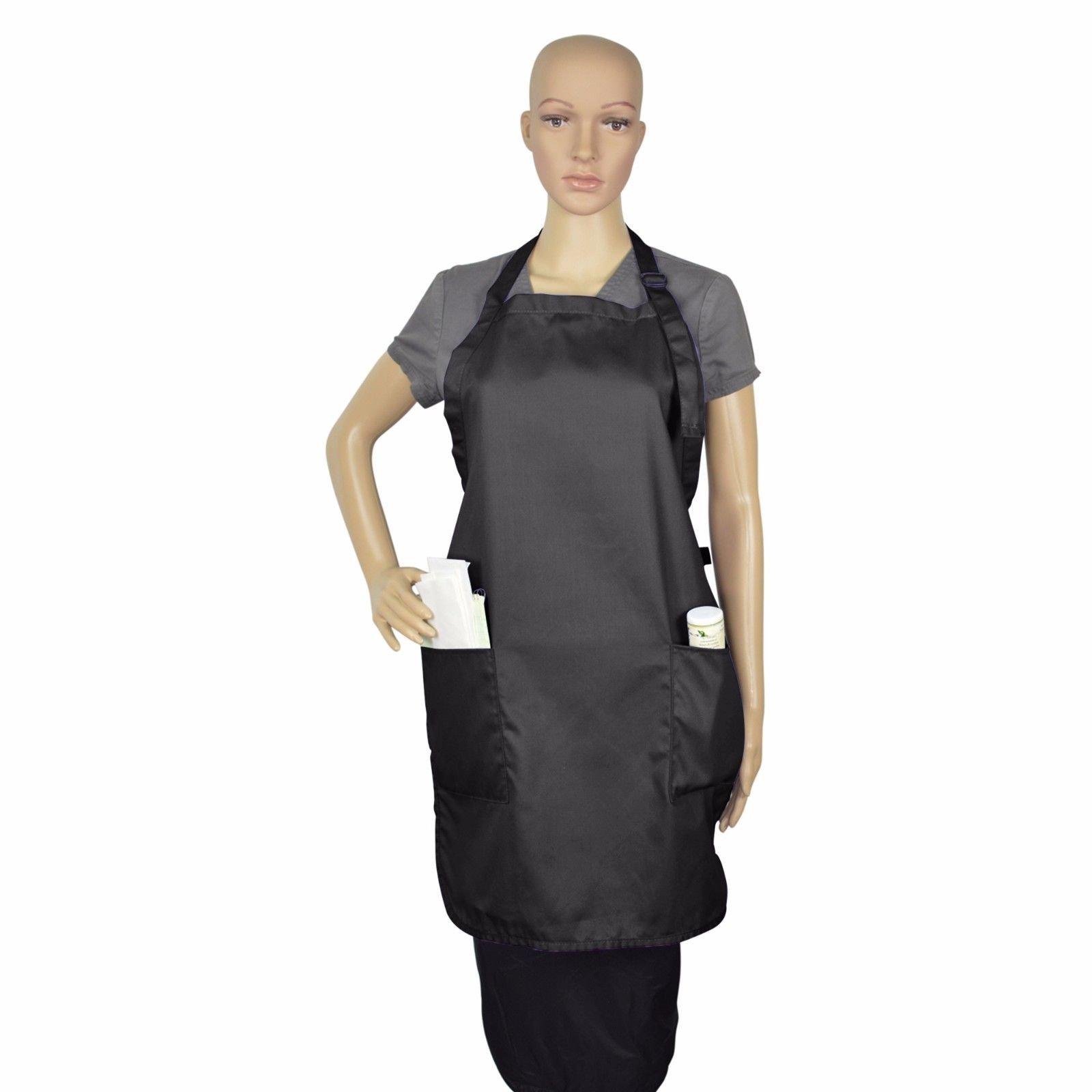 Apron Bib Commercial Restaurant Home Bib Spun Poly Cotton Kitchen Aprons (2 Pockets) (36, Black)