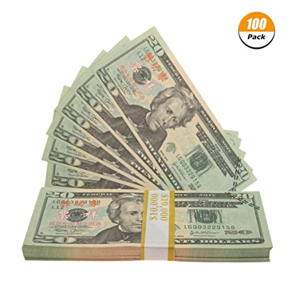 Uspeedy Prop Money 20 Dollar Bills Fake Money Double-Sided Pretend Play  Money, 100 Count, Amount 2,000 Dollars