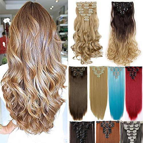 "Price comparison product image 8PCS/Set Full Head Clip In Hair Extensions 100% Real Natural Human Made Hight Quality Synthetic Hair 145G Thick 17-26"" Long Hairpiece(26"" Straight Natural Black)"
