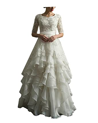 Prom Queen Women\'s Lace Vintage Wedding Dress Beaded A Line Beach ...
