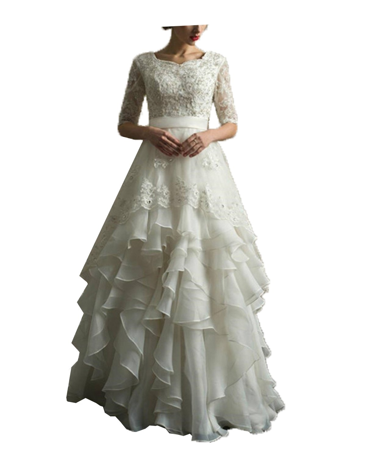 Prom Queen Women's Lace Vintage Wedding Dress Beaded A Line Beach Wedding Dresses US16 Ivory