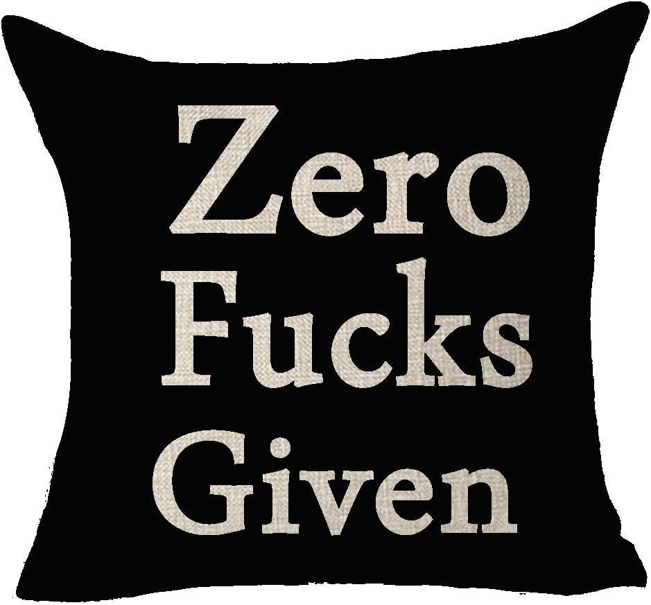 FELENIW Funny Words Zero Fucks Given Throw Pillow Cover Cushion Case Cotton Linen Material Decorative 18