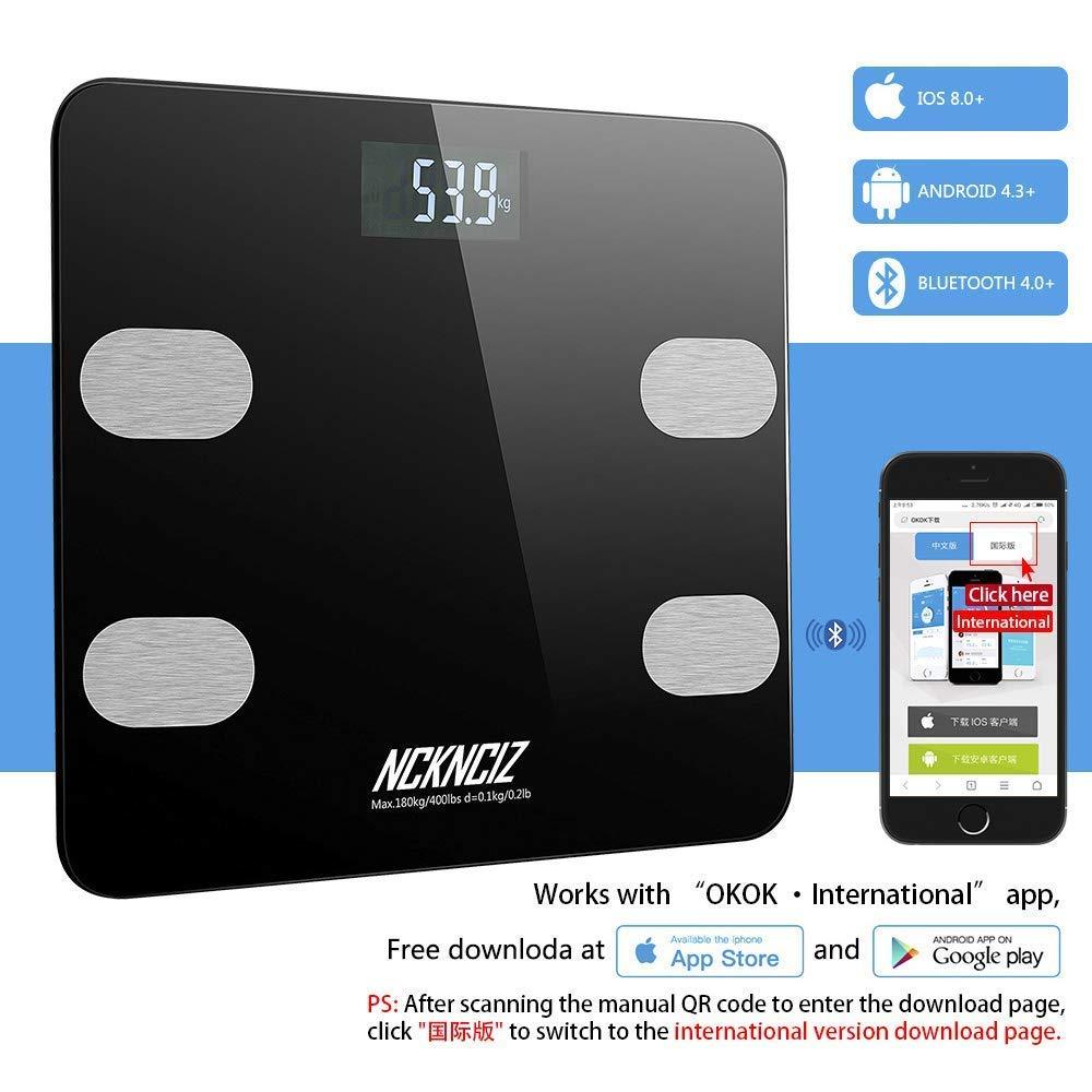Báscula Grasa Corporal Báscula de Baño Bluetooth Balanza Inteligente Monitores de Composición Corporal con APP para Android y iOS (Negro): Amazon.es: Salud ...