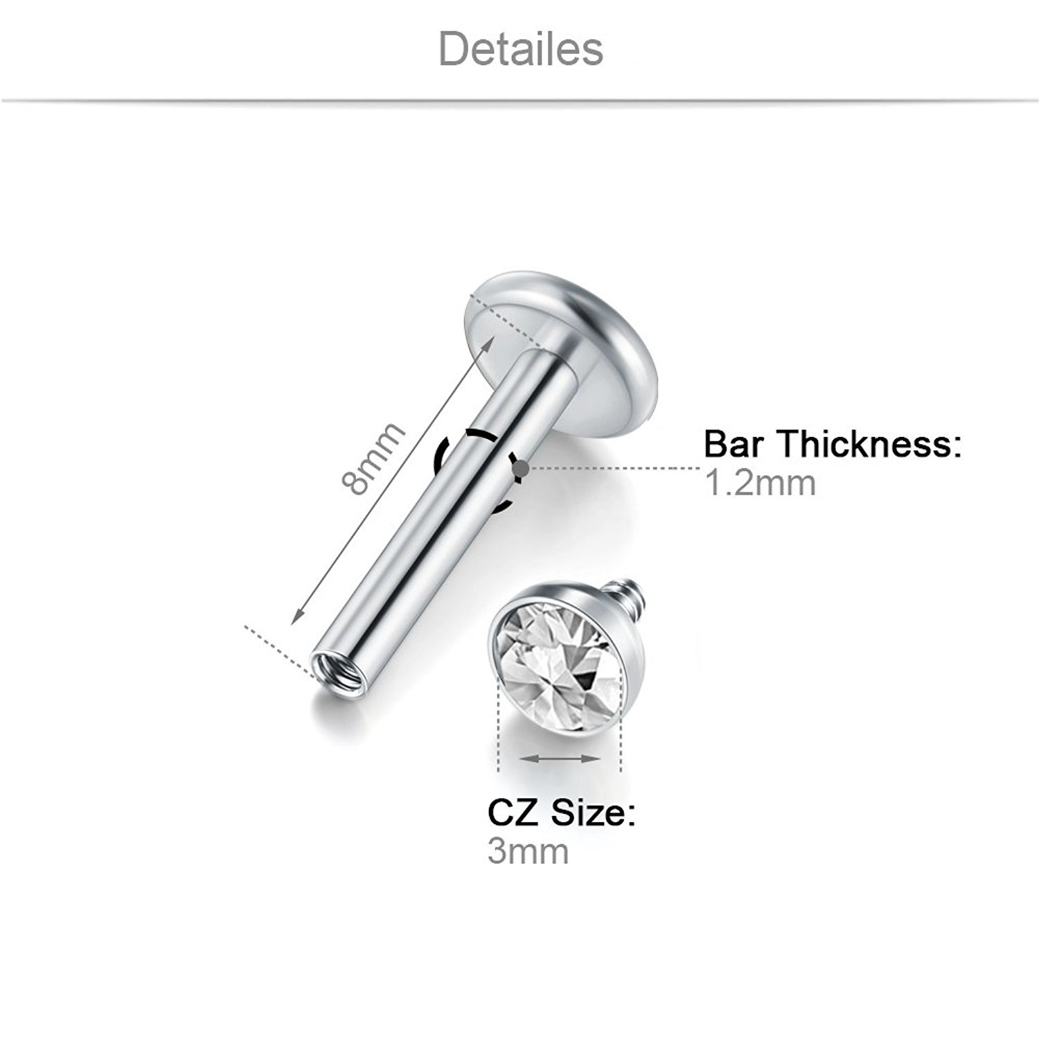 Briana Williams Cartilage Tragus Earrings-16G 2.5mm 3mm CZ Stainless Steel Internally Threaded Labret Monroe Medusa Lip Ring Rook Helix Earring Stud Barbell Piercing Jewelry 8mm Lip-S-6pcs-8mm