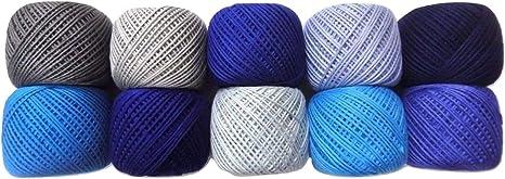 6 capas Strand – tonos de azul – Lote de 10 – 100% algodón hilo ...