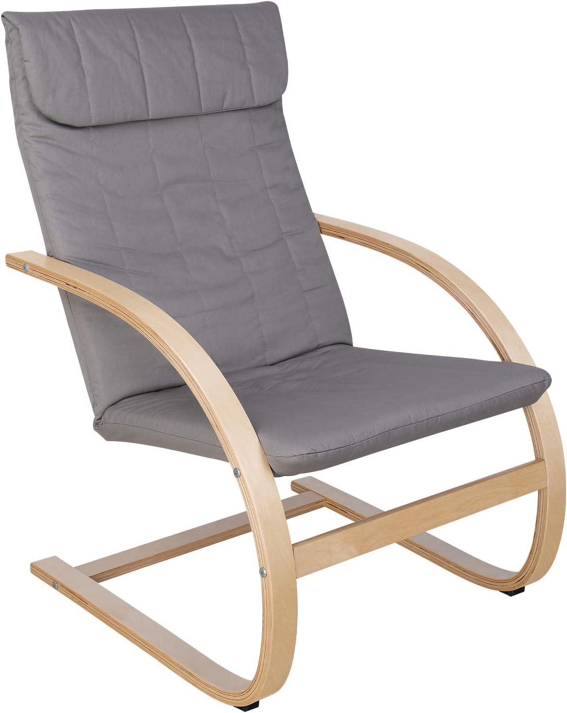 HOMECHO Sillón de Relax Relajado y Confortable Silla Mecedora para Salón, Dormitorio, Balcón Gris 65 x 73 x 96 cm