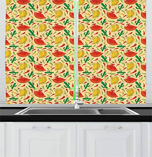 - Ambesonne Spanish Kitchen Curtains, Dancing Mexican Women Cactus and Chili Peppers Jalapeno Latin Motif, Window Drapes 2 Panel Set for Kitchen Cafe, 55 W X 39 L Inches, Green Vermilion Yellow