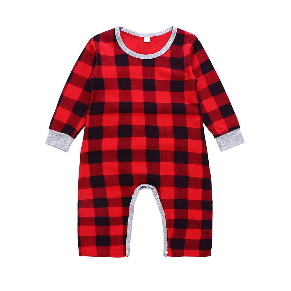 Newborn Baby Boys Girls Christmas Santa Xmas Plaid Letter Romper Jumpsuit Pajamas Toddler Infant Outfits