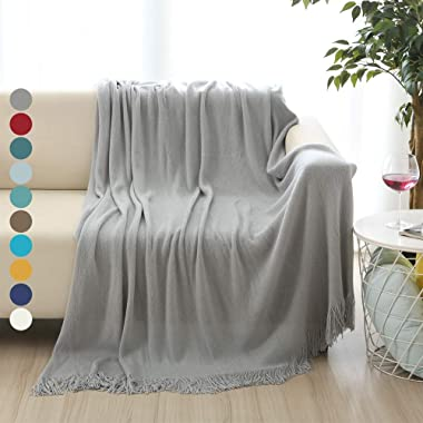 ALPHA HOME Soft Throw Blanket Warm & Cozy for Couch Sofa Bed Beach Travel - 50  x 60 , Gray