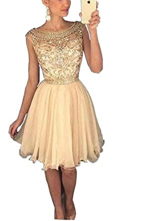 DMDRS Womens Beads Crystal Chiffon Homecoming Dress Short Prom (14, Gold)