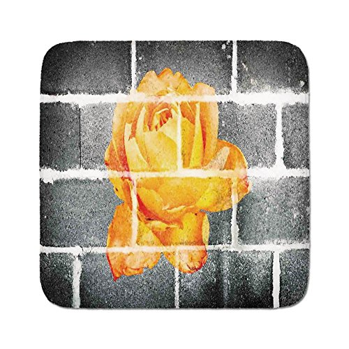 Pads Cushion Area Rug,Rustic Flower Decor,Trippy Modern Graffiti with Rose Petals on Brick Wall Urban City Life,Grey Orange,Easy to Use on Any Surface ()