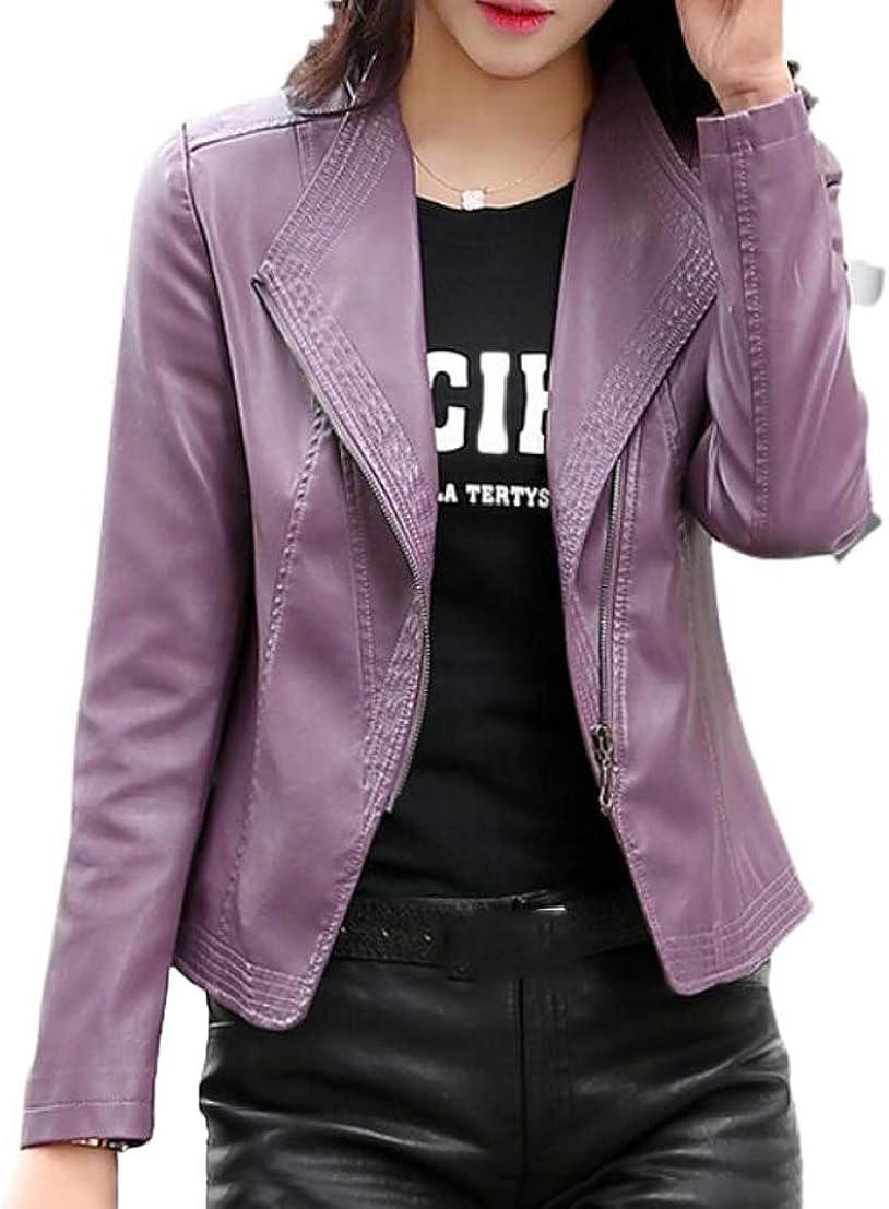 GenericWomen Tops Faux-Leather Lapel Solid Oblique Zip Crop Jackets 4 M