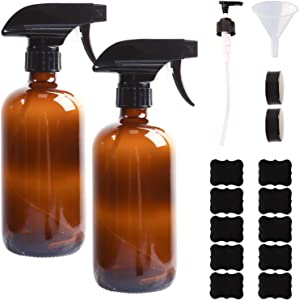 2 Pack, HWASHIN 16oz Amber Glass Spray Bottles, Empty Refillable Container with Adjustable Trigger Sprayers for Essential Oils, Cleaning Products & Aromatherapy (Pump, Funnel, Labels & Caps Included)