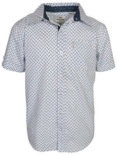Ben Sherman Boys Short Sleeve Button Down Shirt, White/Red Geometric, Size 8'