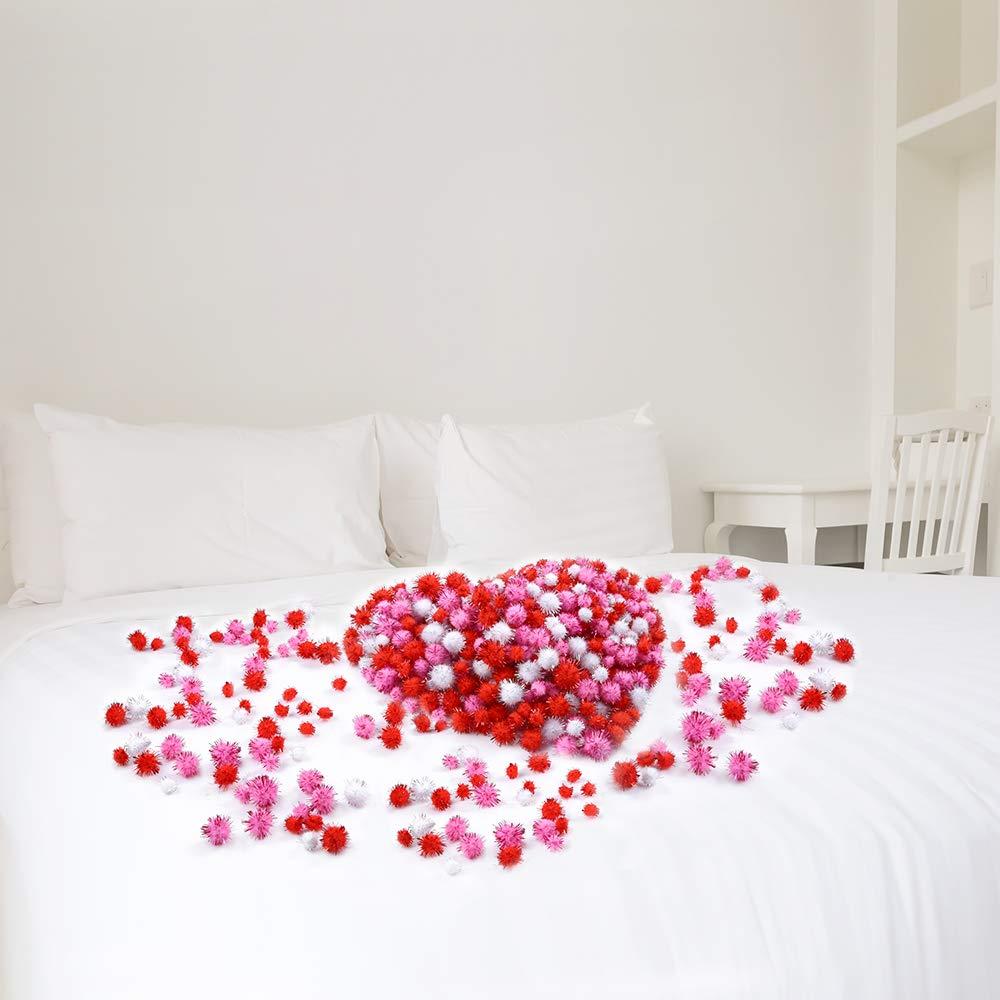 Creative Crafts Decorations Caydo 550 Pieces Valentine Glitter Pom Poms 3 Sizes Fuzzy Sparkle Balls Fluffy Pom Balls Small Craft Pompoms for Valentines Day DIY Red, Pink, White