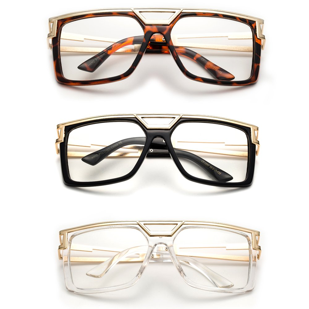 ''Rox'' Thick Frame Rapper 80's 90's Retro Design Clear Lens Frames by Newbee Fashion Clear Lens