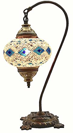 Exceptional Table Lamp,Swan Neck,Lamp Shade,Arabian Mosaic Lamps, Moroccan Lantern,