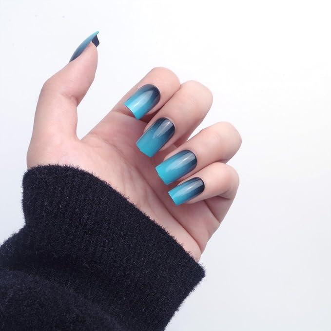 24pcs 12 diferentes tamaño simple Gardient azul negro Longitud de la tamaño mediano cuadrado completo para uñas postizas con diseño: Amazon.es: Belleza