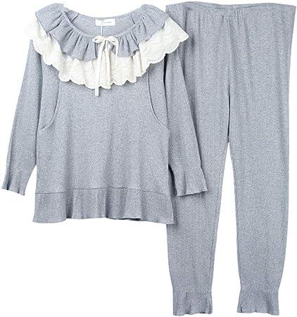 Ropa para Dormir Pijamas Mujeres Embarazadas de algodón Camisas de Manga Larga Camisón de Encaje Gris O-Cuello Embarazo Homedressing Moda Ropa de Lactancia Embarazadas Regalo Ropa para Dormir: Amazon.es: Hogar