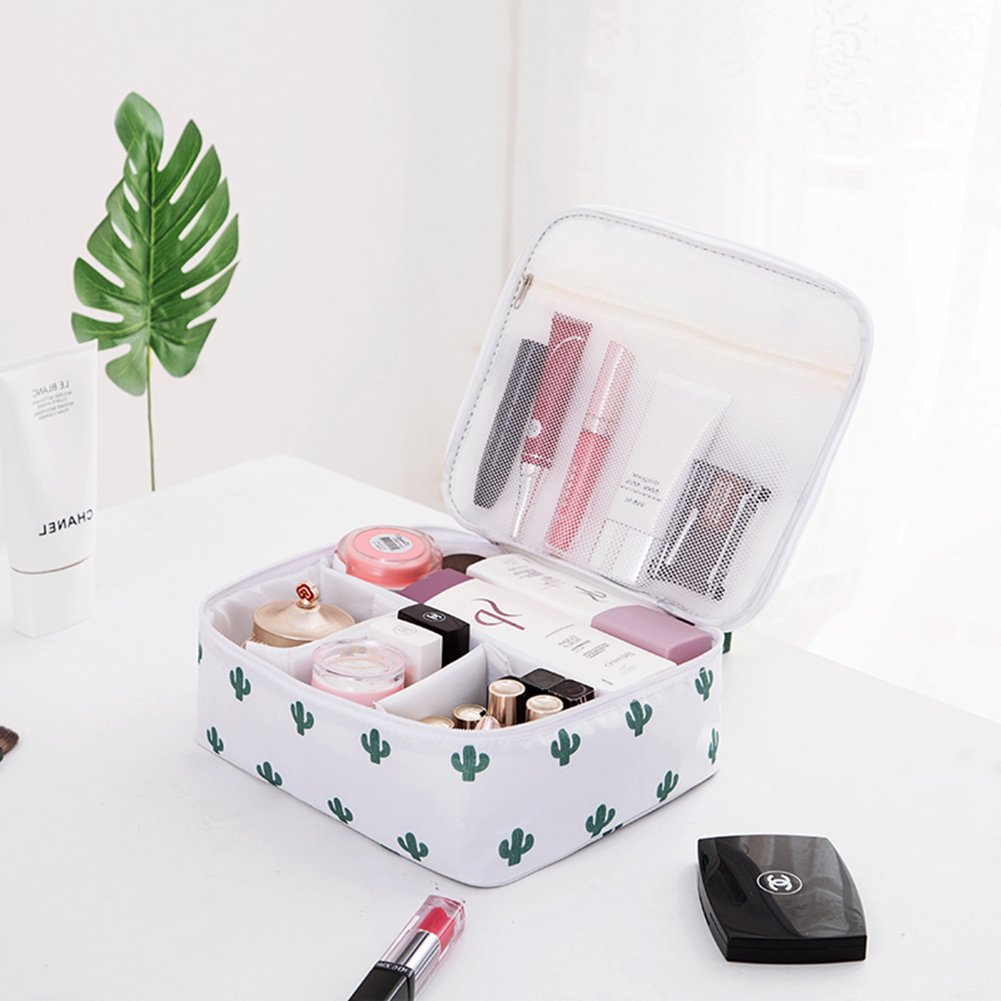 LANGUGU Waterproof Large Capacity Cosmetic Bag Portable Makeup Brush Organizer Kit Multifunctional Vacation Travel Home Toiletry Cute Printed Pouch for Little Young Girl (B-Cactus)