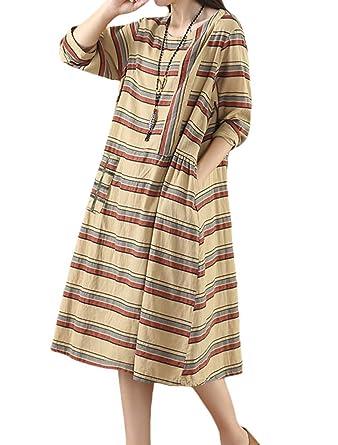 6bc50b92370 Mordenmiss Women s New Cotton Linen Dress Striped Long Sleeve Shirt Dress  with Pockets (L