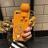 国内発送 全国送料無料 リングストラップ付きライアンiphoneケース カカオフレンズiphoneケース (iphone8, 3Dライアン)