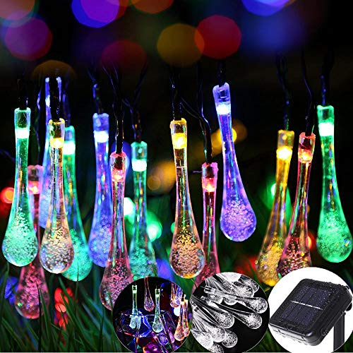 Color Solar String Lights Outdoor Waterproof  Raindrop Lights Christma s Decro 30Led 21Foot Twinkle Fairy Lighting for Indoor Garden Xmas Tree Party Weddings Patio( Multi Color)