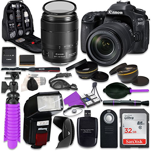 Canon 80D EOS DSLR Camera with Canon 18-135mm IS USM Lens, Auxiliary Panoramic and Telephoto Lenses, 32GB Memory + Accessory Bundle