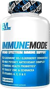 Evlution Nutrition Immune Mode - Broad Spectrum Immune Support, with Potent Antioxidant Complex, Probiotics, Elderberry, Vitamin C, Vegan & Gluten-Free, 30 Servings