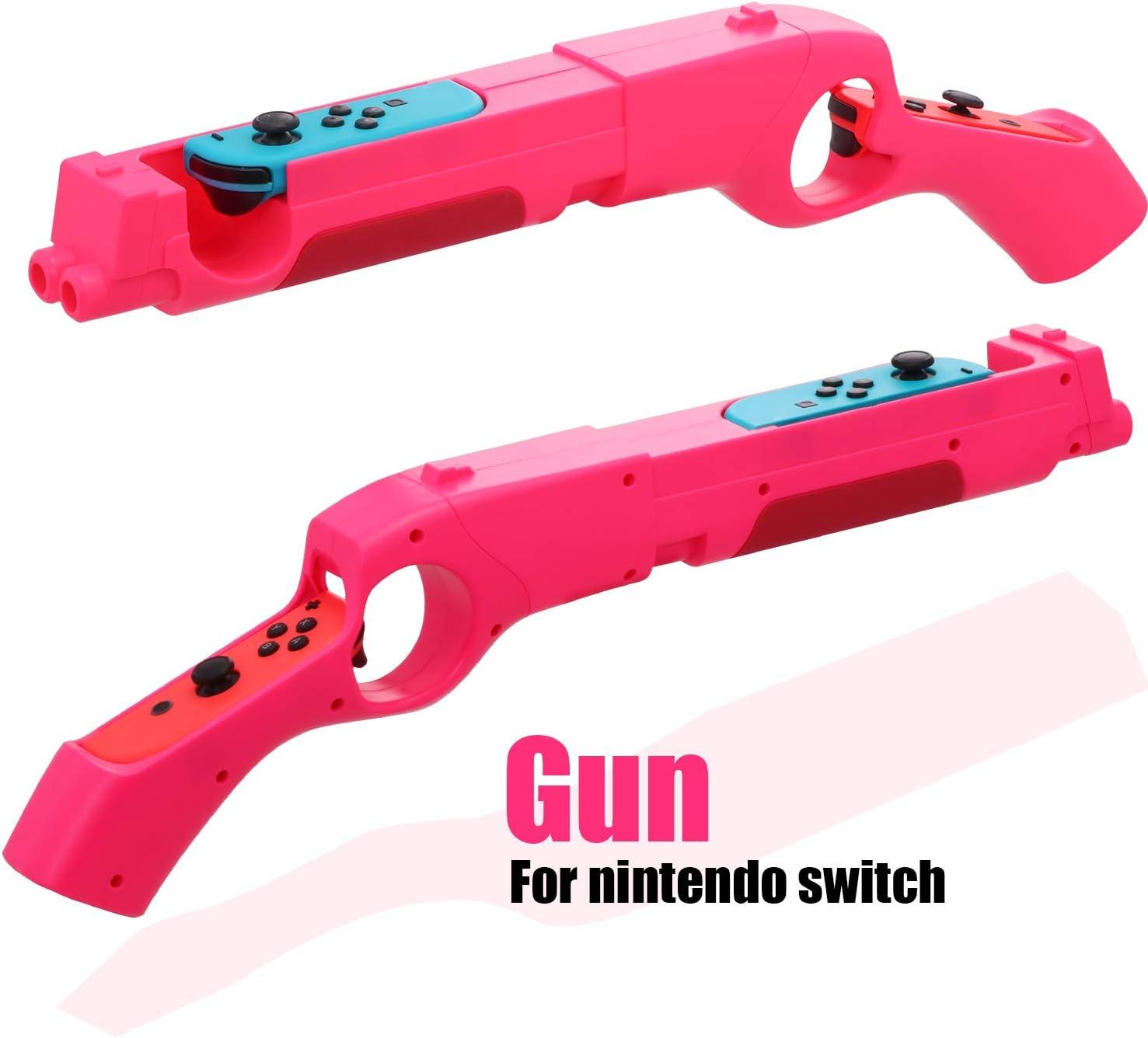 Controlador de pistola de juego compatible con Nintendo Switch Shooting Games Wolfenstein 2: The New Colosus, Big Buck Hunter Arcade - Nintendo Switch y otros juegos de disparo, color rosa (1 paquete):