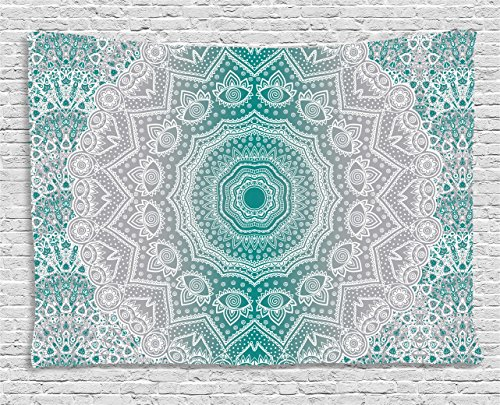 Grey and Teal Tapestry by Ambesonne, Mandala Ombre Sacred Geometry Occult Pattern with Flower Lines Display Artwork, Wall Hanging for Bedroom Living Room Dorm, 80 W X 60 L Inches, Teal Grey (Teal Ideas Wall)