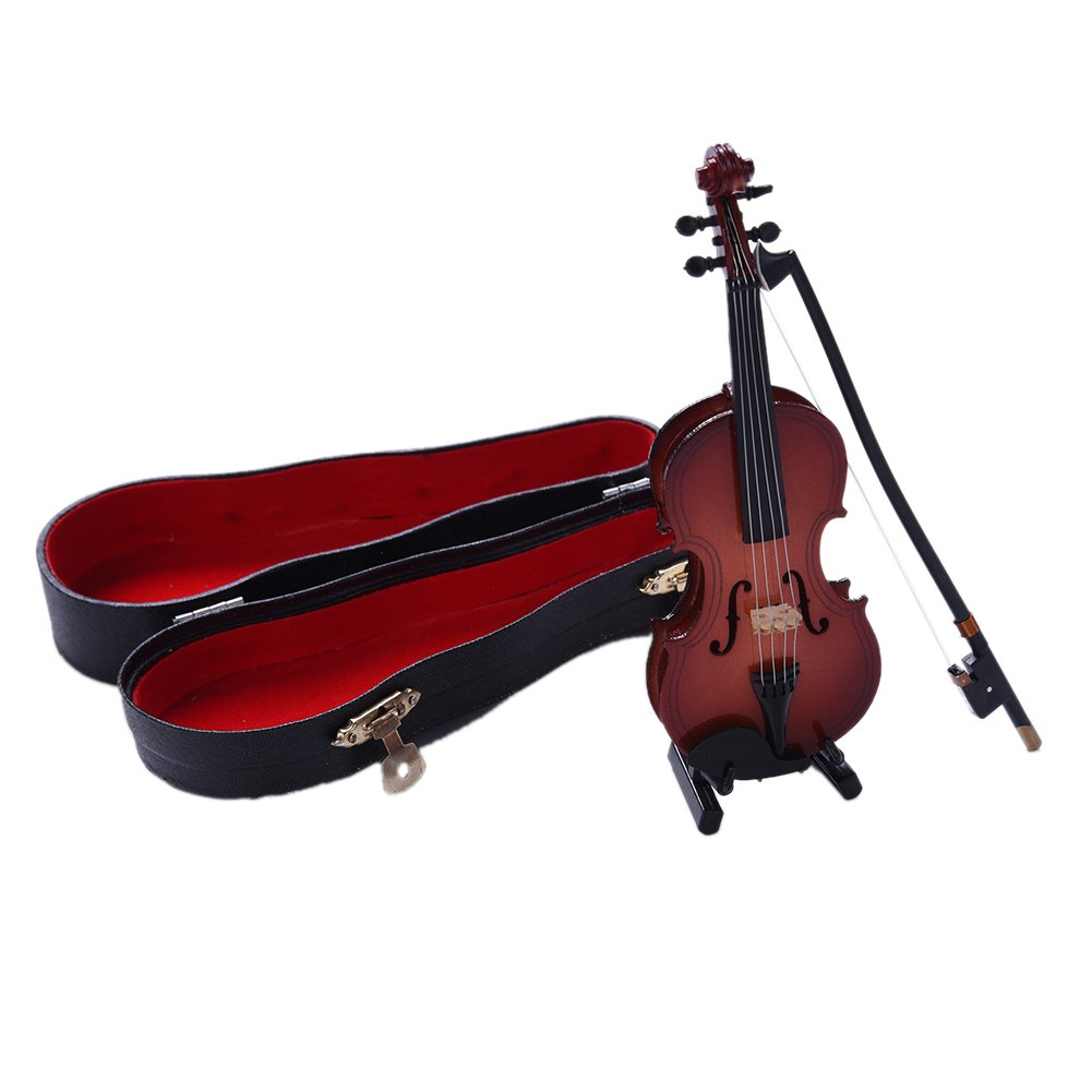 Tilesii Mini Electric Guitar/Classic Guitar/Violin/Saxophone with Support Miniature Wooden Musical Instruments Collection Decorative Ornaments
