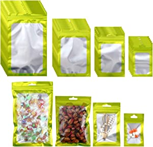 Beilecy 120 Pcs Smell Proof Bags Resealable Foil Pouch with Window and Euro Hang Hole Odorless Mylar Bags Heat Seal Pouch Food Safe Storage, Airtight Ziplock,4 Sizes (Matte Green)