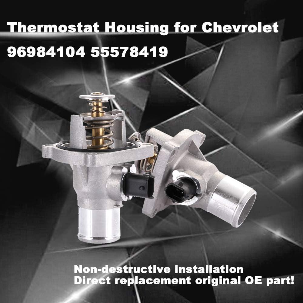 cciyu 96984104 55578419 Engine Coolant Thermostat Housing Kit Water Outlet Thermostat Housing Kit Replacement fit for 2009 2010 2011 Chevrolet Aveo Aveo5 1.6L