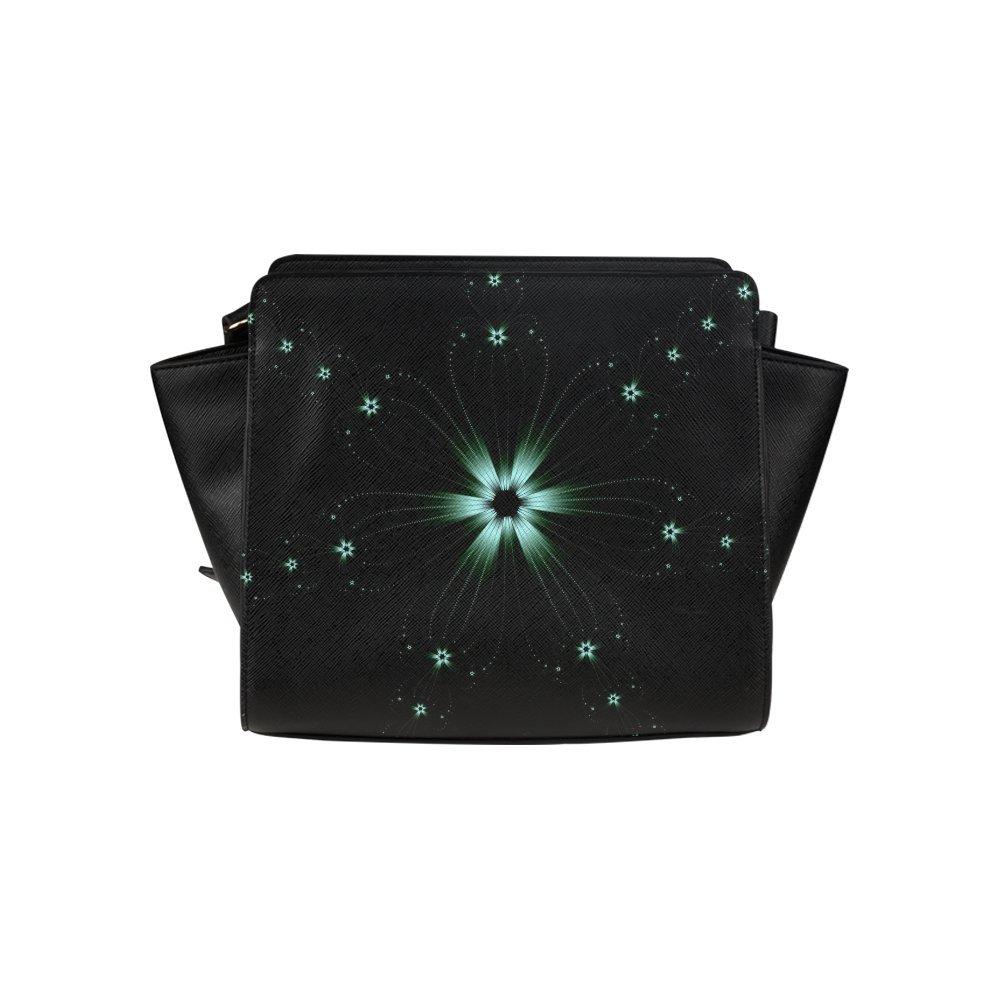 Custom Teal Flower Burst High-grade PU leather Woman Top Zip Satchel Handbag/Shoulder Bag/Tote Bag For Women Girls SP-182