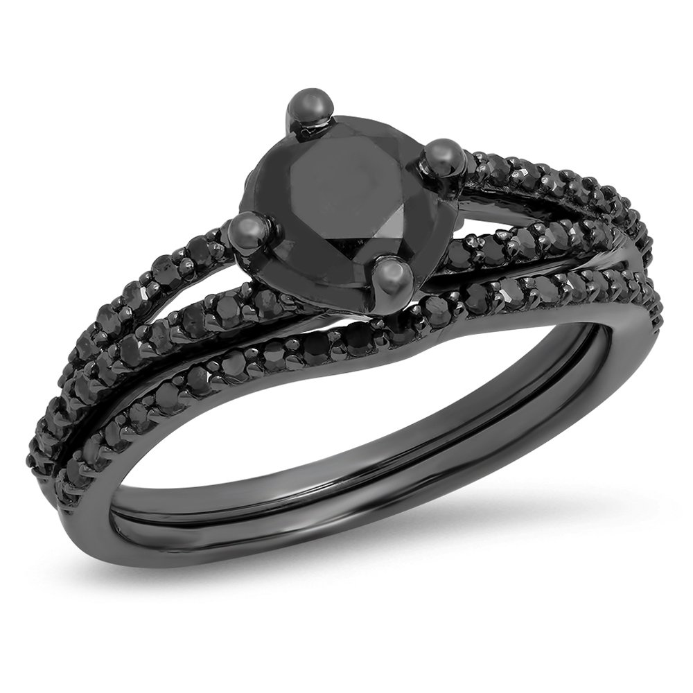 1.35 Carat (Ctw) Black Rhodium Plated Silver Black Diamond Ladies Bridal Engagement Ring Set (Size 6.5)