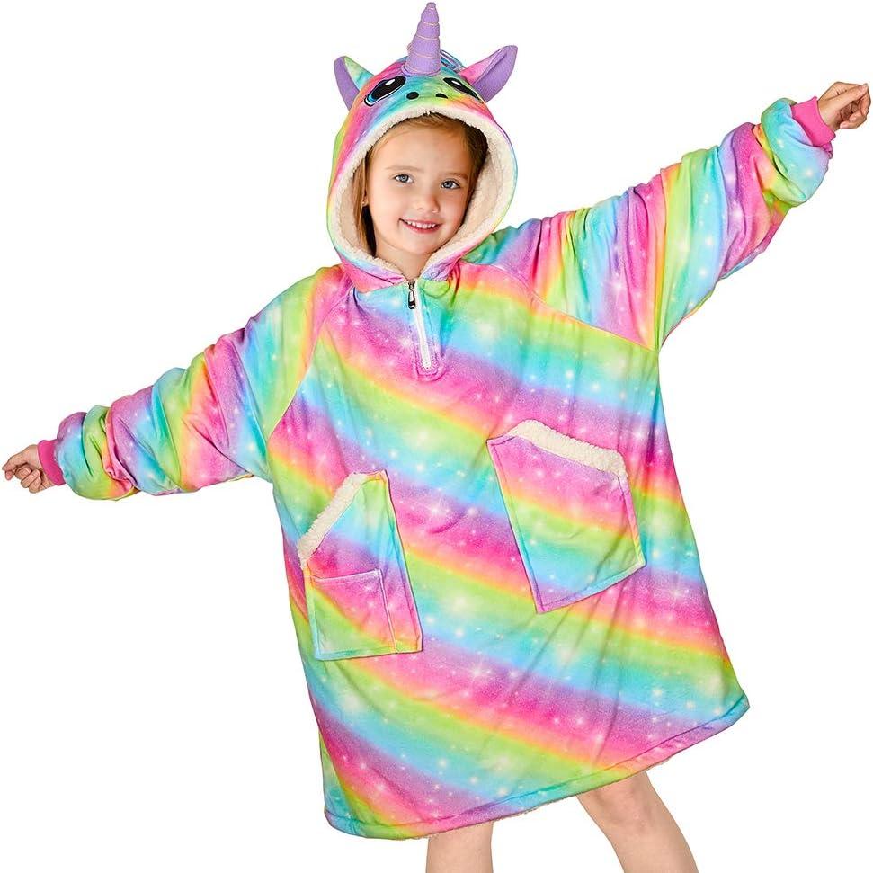Unicorn Castle Blanket Sweatshirt Rainbow Unicorn Hoodie Blanket with Pocket Oversized Wearable Blanket for Girls Kids