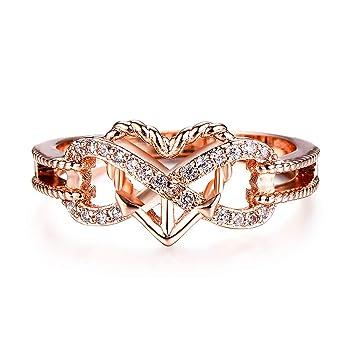TONVER - Anillo de Compromiso para Mujer, Chapado en Oro Rosa con Diamantes Falsos,